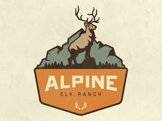 Alpine Elk Ranch logo  --  Elegant, Colourful Logos