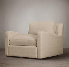 Belgian Slope Arm Upholstered Swivel Chair