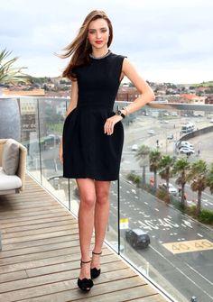 Love Miranda Kerr's style. Classic LBD look.