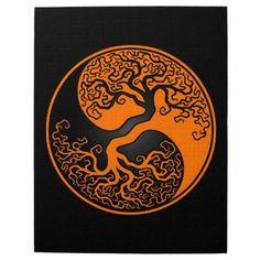 Orange and Black Tree of Life Yin Yang Puzzle