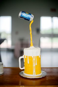 #NationalDrinkBeerDay #BeersWith  Custom Corona Pouring Beer Groom's Cake | Angela Hudson Cakes | Rockstar Event Planners | Karla Korn Photography https://www.theknot.com/marketplace/karla-korn-photography-south-florida-fl-507417 |