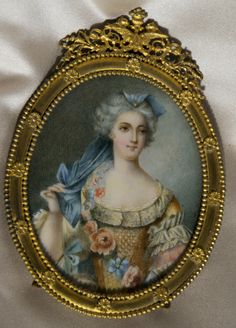 19th century French Miniature Portrait, Watercolor on Ivory, Bronze Dore Frame | eBay
