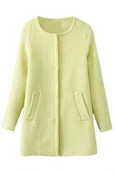 Light #Green Long-Sleeve #Wool #Coat - OASAP.com