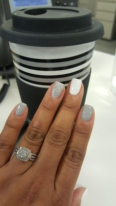 Grey, White And Sparkle Nails.