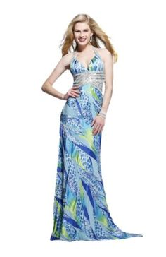 Turquoise Print Halter Prom Dress « Dress Adds Everyday