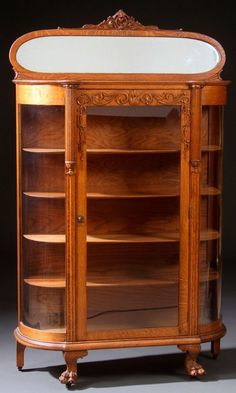 Lot:A VICTORIAN CURVED GLASS OAK CHINA CABINET, Lot Number:647, Starting…