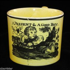 RARE Staffordshire Canary Child Mug Present for A Good Boy c1820 Transfer Ware | eBay