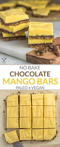 Paleo Vegan chilled mango bars with a nut crust layer of chocolate and rich mango sorbet. Simple ingredients plus grain free and dairy free. Learn the Fast Weight Loss Easy No Bake Desserts, Healthy Desserts, Grain Free, Dairy Free, Gluten Free, Paleo Vegan, Raw Vegan, Vegetarian, Sweets