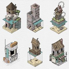 Drawing Tips Embedded - Isometric Drawing, Isometric Design, Object Drawing, Drawing Drawing, Drawing Tips, Building Art, 3d Drawings, Environment Concept Art, Environmental Art