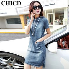 Buy now CHICD Big Size XXL Women's Jeans Dress 2017 Autumn Spring Casual Vintage 2 Color Solid Blue Stand Neck Pockets Denim Dress XD85 just only $18.09 - 19.30 with free shipping worldwide  #womandresses Plese click on picture to see our special price for you