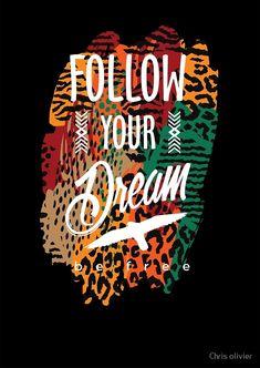"""slogan follow your dream be free"" by Chris olivier | Redbubble Estilo Hippy, Lema, Follow You, Long Hoodie, Retro, Laptop Sleeves, Slogan, Chiffon Tops, Classic T Shirts"
