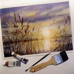Watercolor Artwork by Nadja Leutloff Watercolor Landscape Paintings, Landscape Drawings, Watercolor Artwork, Landscape Art, Art Drawings, Watercolour, Watercolor Flowers Tutorial, Small Canvas Art, Aesthetic Painting