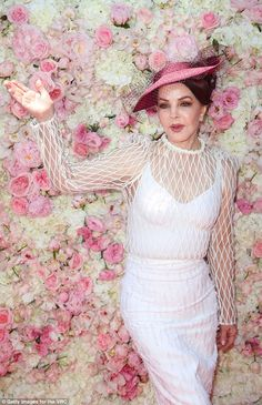Priscilla Presley tunred more than a few heads when she attended Oaks day at Melbourne's Flemington Racecourse on Thursday in a stunning white frock. Priscilla Presley Wedding, Elvis And Priscilla, Oaks Day, White Frock, Elvis Presley Images, Romantic Shabby Chic, Racing Events, Lisa Marie, American Women