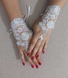 Ivory Wedding gloves bridal gloves fingerless by JasmneAccessores, $25.00