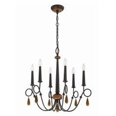Visit The Home Depot to buy Corso Collection 6-Light Wood Chandelier 25591-019