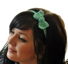 The Tiniest  Small Bow Crochet Headband Accessory by susannahbean @Angelique Robinson I need this!