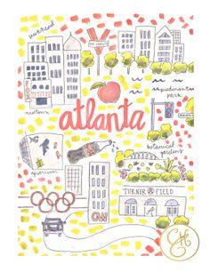 Atlanta Map Print by EvelynHenson on Etsy