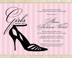 Printable File Bachelorette Party Invitation, Bachelorette Party Invites, Lingerie Shower Invitation-Stylish Stiletto(Black High Heel Shoes)...