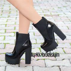 Unido Rugan Siyah Kalın Topuklu Bot Heeled Boots, Boot Heels, Pretty Tough, Platform, Wedges, Shoes, Fashion Shoes, Boots, Sneakers