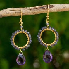 Novica Gold Overlay 'Iris Rain' Iolite Earrings