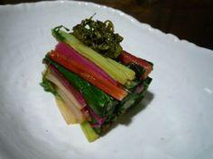 【うまい菜(不断草)のおひたし 京都カフェ】カラフルなスイスチャードのおひたし