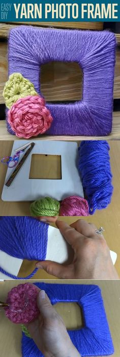 Easy DIY Yarn Photo Frame | Easy Handmade Mother's Day Gift Ideas by DIY Ready at  http://diyready.com/diy-gifts-mothers-day-ideas/