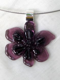 Fused glass flower pendant fused glass jewelry by FoxWorksStudio, $25.00