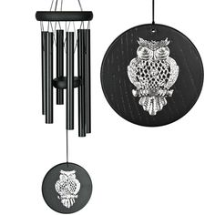 Habitats Chime - Black, Owl.  A shining silver owl keeps watch while the windchime makes beautiful music. #windchimes #owl