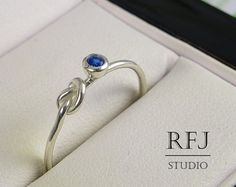 Knot Lab Sapphire Silver Ring Blue 2 mm by RoyalFlashJewelry
