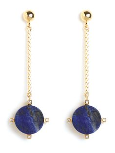 Get into the glamorous swing of things with this knockout statement style. The earrings feature two fabulous lapis lazuli pendulums — in beautiful bewitching blue — that come accented with extra glitz.  This is part of the Designer Series: Roman Luxe  PICK UP THE SQUARE CRYSTAL STUDS FREE WITH ANY PURCHASE FROM THIS SERIES. SIMPLY ENTER FREE GIFT CODE: ROMANLUXE AT CHECKOUT
