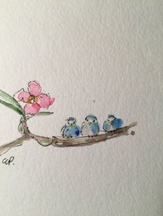 Three Little Birds Watercolor Card / Hand Painted Watercolor Card This card is 5x7 and has been painted with watercolor and ink. This card is an original not a copy. This card is painted on heavy 140* card stock. Comes with a matching envelope in a protective sleeve.