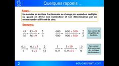 cours maths 4ème addition et soustraction de fractions