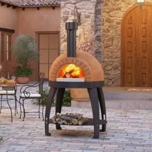 The dome is made of refractory clay and chamotte and the cooking floor is made of replaceable fire brick tiles to ensure performance year after year. - Alfa Cupola Wood Burning Pizza Oven On Cart : BBQ Guys