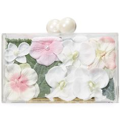 ashlyn'd Blossom Clutch ($510) ❤ liked on Polyvore featuring bags, handbags, clutches, blushing pink, pink flower purse, acrylic purse, lucite handbags, see through purse and lucite purse