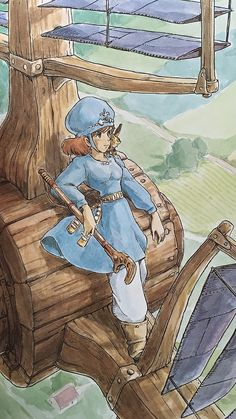 Illustrations done for the Nausicaa manga ===== Manga began running in monthly 'Animage' in Feb. 1982, collected in order of appearance ===== Notes: I wanted to use this kind of Venetian blind windmill in the movie but was unable to depict it in any kind of detail. These type of windmill sails exist. When the speed of the windmill passes a certain point, the blinds open to let the wind pass through. When the wind is too strong, this prevents the windmill from turning too fast & breaking.
