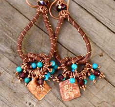 wire wrapped leather earrings