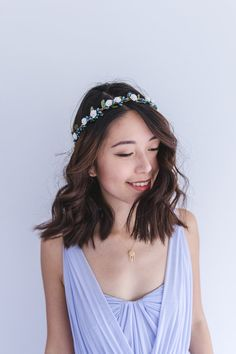 blue and white rose leaf & berry flower crown // by kisforkani