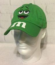 M&M Green Hat Candy Advertisement  Lady Girl Baseball Cap Hat