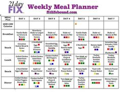 Fit Life Bound   21 Day Fix Weekly Meal Plan