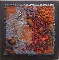 "Helen Suzanne - Ignatious rockpools: This piece measures 12"" x 12"" and is created mostly from hand-dyed silk with machine embroidery and beading."