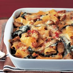 Baked Pasta with Chicken Sausage  Good for a Covered Dish or a Dish for a family in berevement, new baby, etc. Makes 2 1 1/2 quart casseroles 12 Points Plus per serving