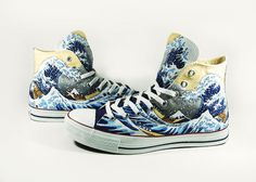 The great wave off kaganawa , custom shoes hand painted converse chucks. $150.00, via Etsy.