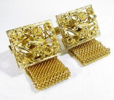 Gold Tone Wrap Around Cufflinks with Flower and Flora Designs