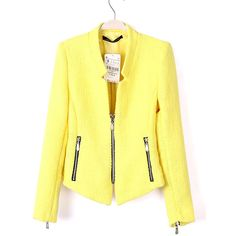 SheIn(sheinside) Yellow Collarless Long Sleeve Zipper Suit (8.050 KWD) ❤ liked on Polyvore featuring outerwear, jackets, blazers, sheinside, sheinside.com, yellow, cropped blazer, cotton jacket, long sleeve blazer and zipper blazer