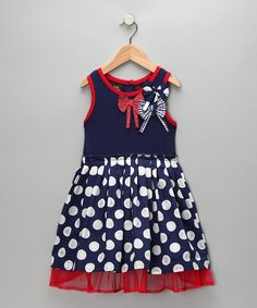 Take a look at this Blue & White Polka Dot Dress - Girls  by Self Esteem on #zulily today!  Great for 4th of July!