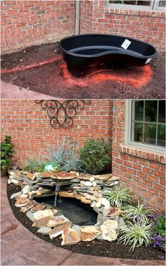 12 best DIY pond ideas & tutorials, from easy kits for small garden & patio water feature to beautiful backyard waterfall with plants & fish! - A Piece of Rainbow, outdoor projects, fountain, landscaping, gardening, curb appeal, landscape design, summer, koi ponds, #gardendesign #landscaping #gardenpath #gardens #gardening #curbappeal #landscape #diy Small Pond Fountains, Backyard Water Fountains, Diy Garden Fountains, Backyard Water Feature, Outdoor Fountains, Patio Water Fountain, Outdoor Waterfall Fountain, Water Fountain Design, Landscaping With Fountains