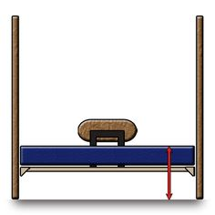 "OPTION 1A: The lowest lofting setting, 23""-26"" from top of the mattress to the floor. Guardrail faces toward wall."