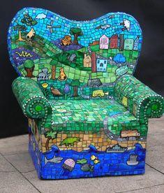 Alice 39 s chair mosaic cafe garden art gallery acacia for Stuhl design kunstunterricht