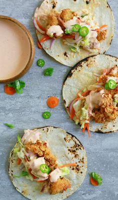 Spicy Buttermilk Fried Popcorn Chicken Tacos