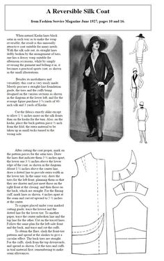 A Reversible Silk Coat from Fashion Service Magazine June 1927, pages 10 and 16.